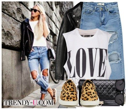 Рваные прерваные джинсы-бойфренды и кожаная куртка-косуха