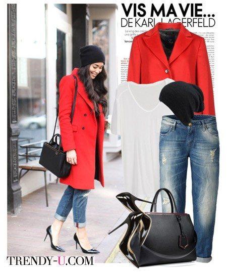Джинсы-бойфренды и красное пальто
