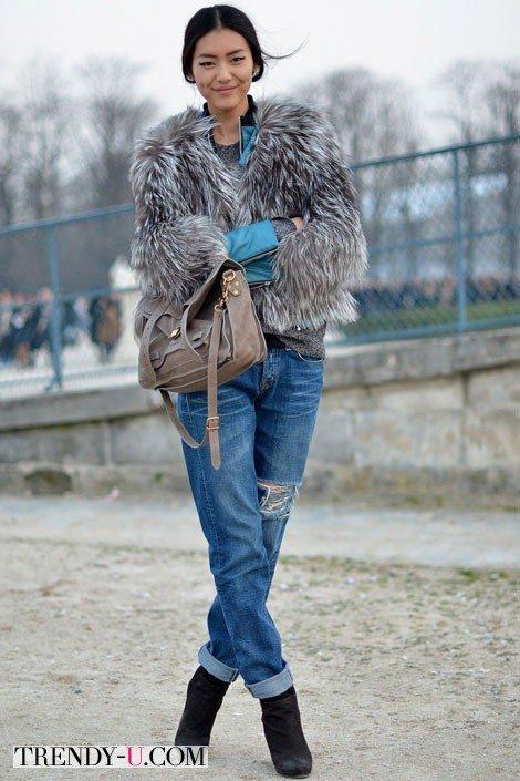 Полушубок и джинсы-бойфренды