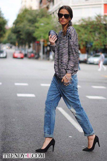 Лук с джинсами-бойфрендами в стиле casual