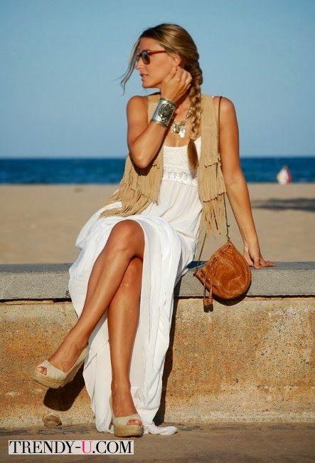 Замшевый жилет и лук в стиле бохо для лета