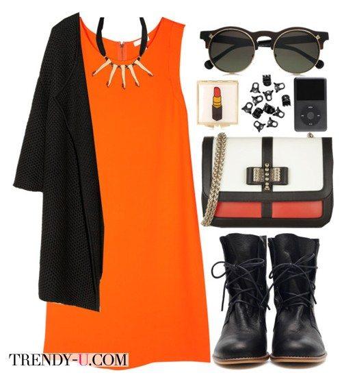 Оранжевое платье, черный кардиган и солдатские ботинки