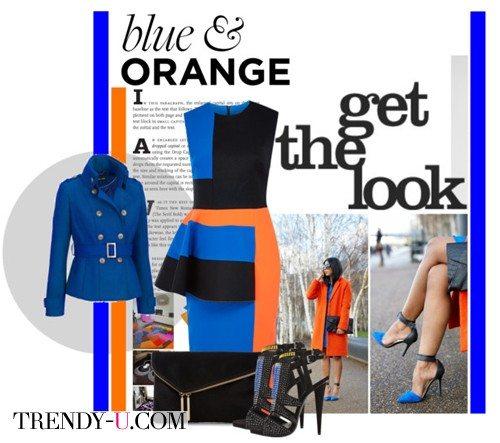Оранжевое платье и синие туфли/жакет
