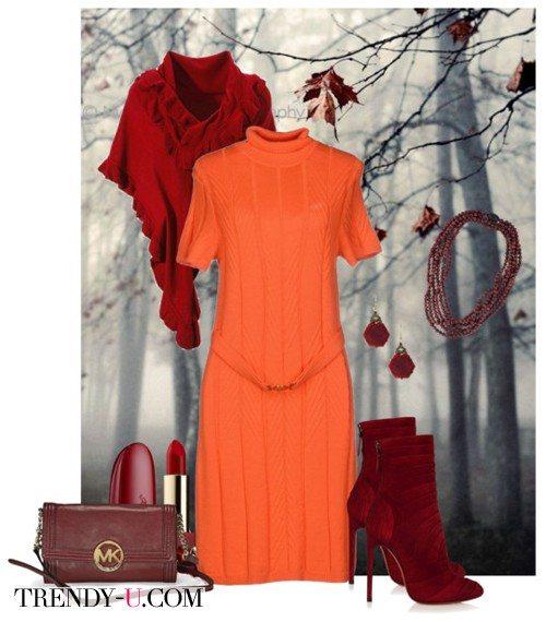 Морковного /оранжевого цвета платье в сочетании с бордовым/терракотовым