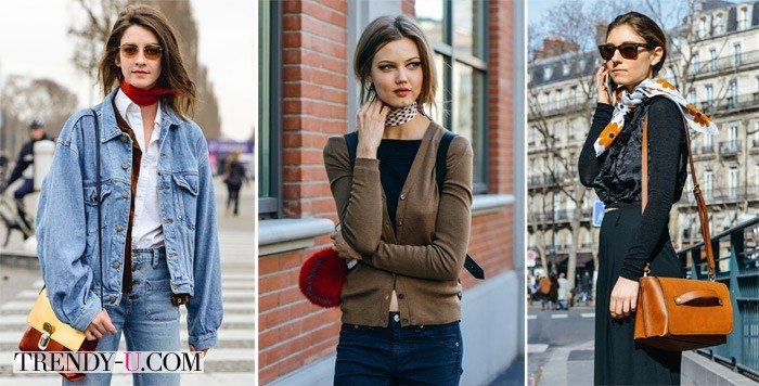 Девушки в шейных платках на улицах Парижа