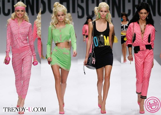 Барби доллс на модном шоу Moschino весна-лето 2015 одетые для занятий спортом:)
