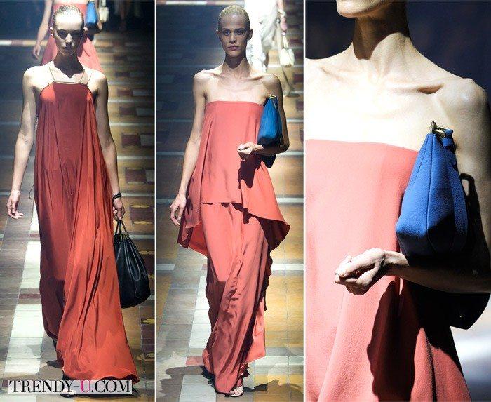 Длинные вечерние платья цвета марсала из коллекции Lanvin SS 2015
