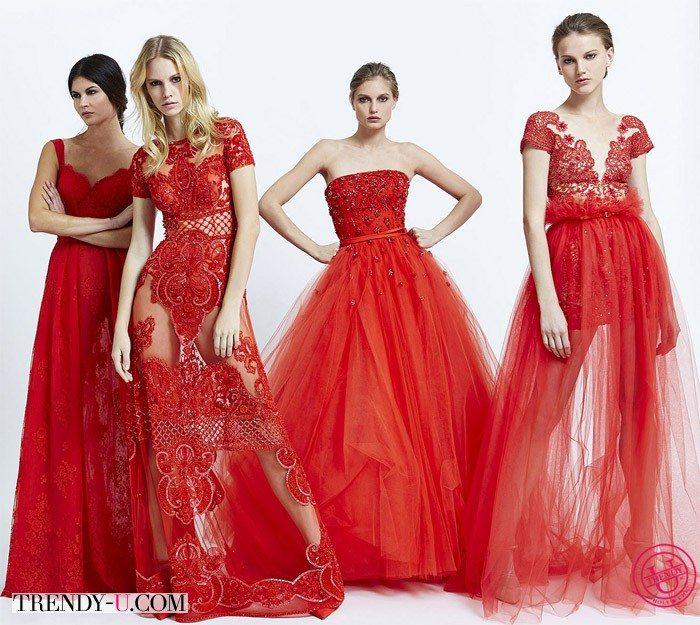 Красные кружевные платья весна-лето 2015 от Zuhair Murad