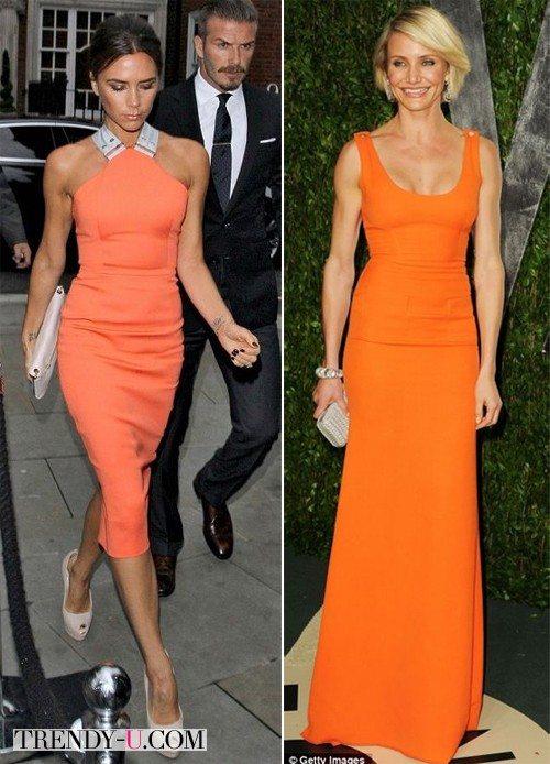 Знаменитости в оранжевых платьях: Виктория Бэкхем и Камерон Диаз
