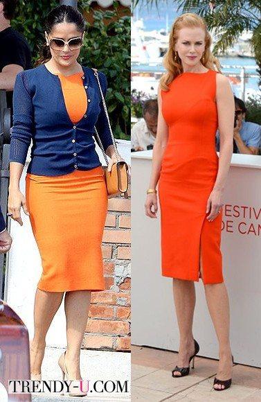 Сальма Хайек и Николь Кидман в оранжевых платьях