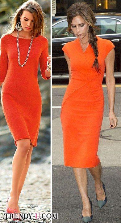 Стильные платья оранжевого цвета