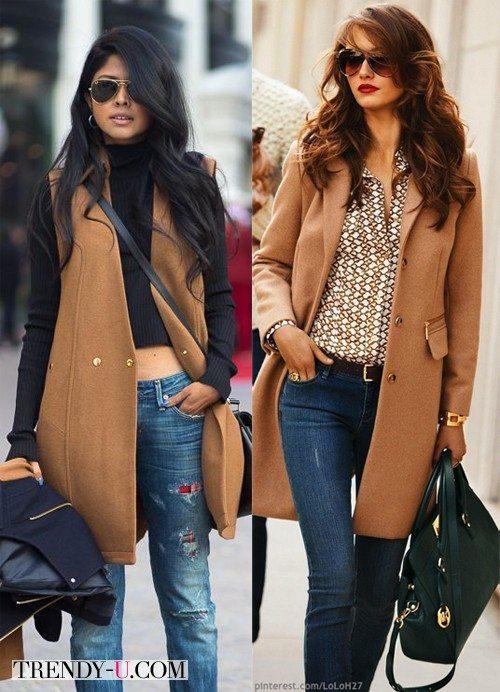 Уличные модницы в пальто и джинсах