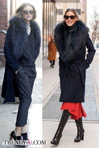 Оливия Палермо в черном с мехом пальто