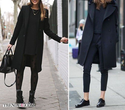 Street Style Looks: черное пальто и другие вещи