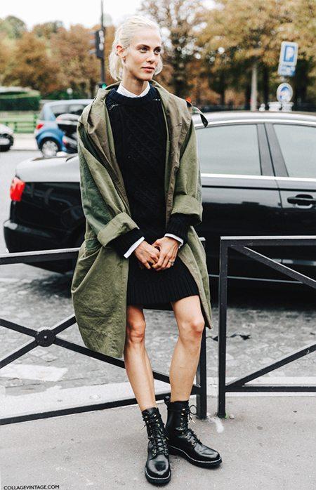 Черное платье в сочетании с ботинками