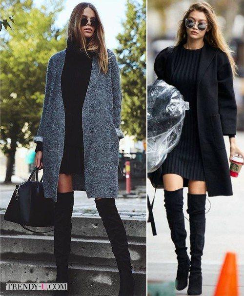 Черное платье осенью или весной: с высокими сапогами