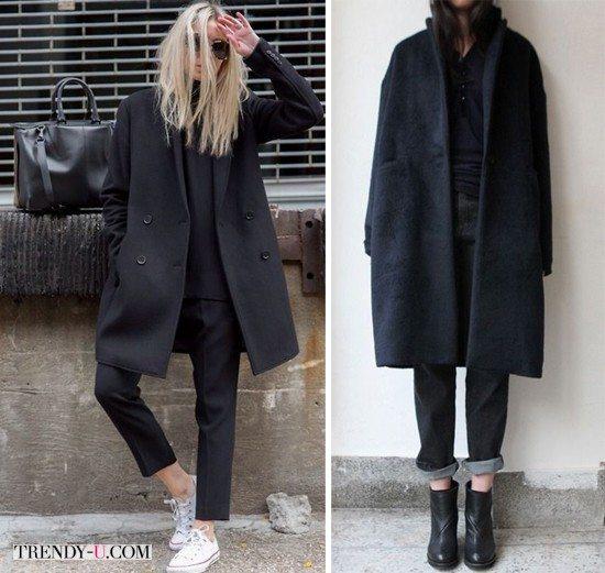 Модные зимой 2016 пальто оверсайз черного цвета