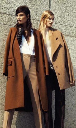 Девушки в коричневых пальто разных оттенков