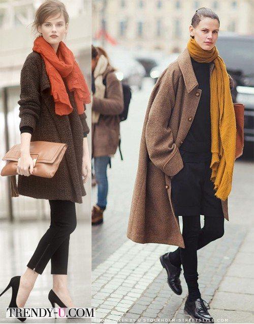 Коричневое пальто и шарф