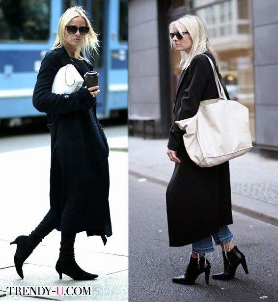 Черное пальто и белая сумка