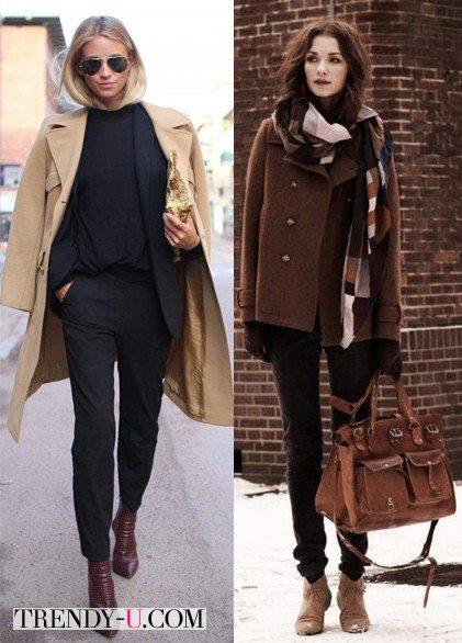 Луки с черным пальто