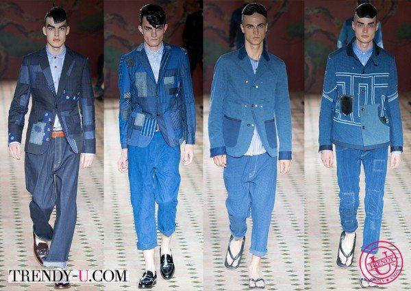 Модная мужская джинсовая одежда весна-лето 2015 Junya Watanabe