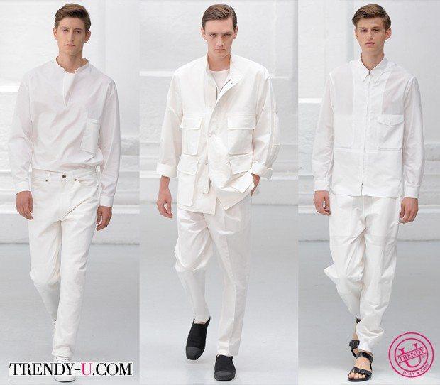 Модная мужская одежда весна-лето 2015 белого цвета от Christophe Lemaire