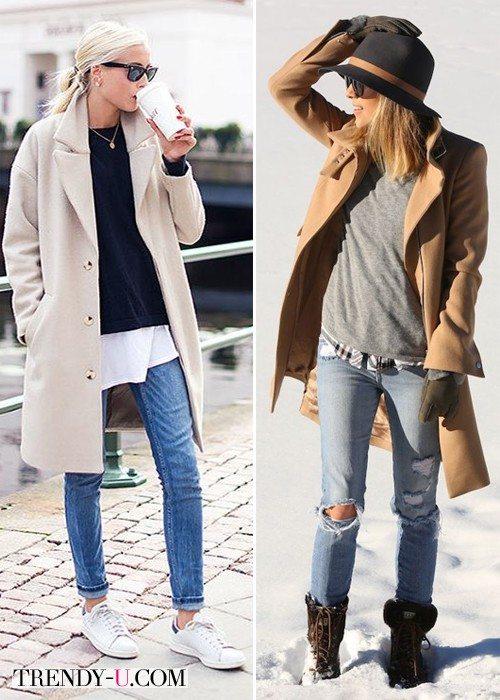 Девушки в джинсах и коричневых пальто светлых оттенков