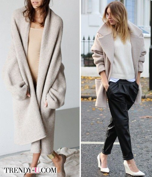 Луки с бежевыми пальто-коконами