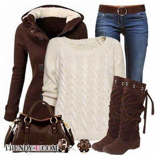 Коричневое укороченное пальто и джинсы-скинни