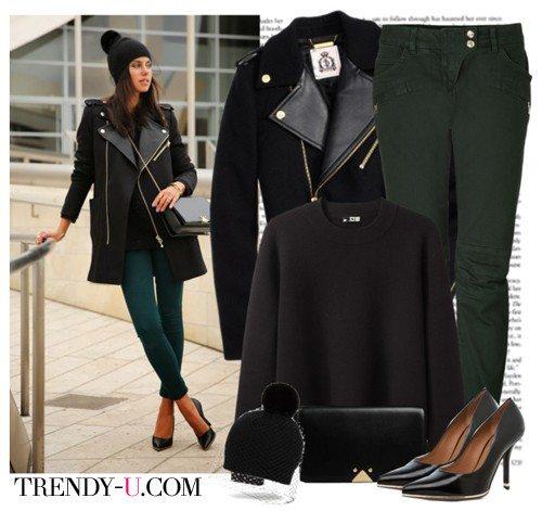 Джинсы, шапка, пальто