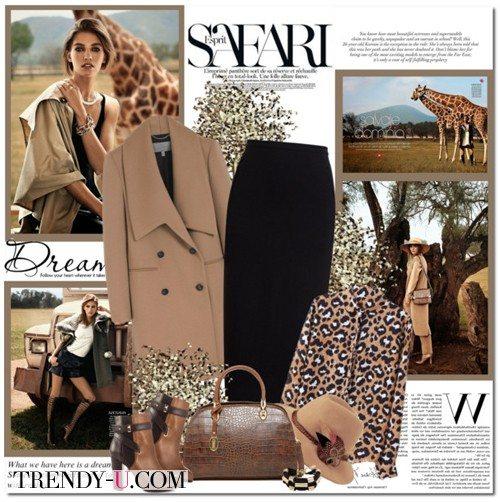 Блузка с принтом, черная юбка и коричневое пальто: стильно!