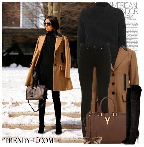 Светло-коричневое пальто и черный аутфит