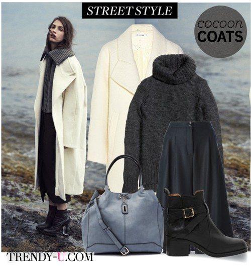 Пальто-кокон молочного цвета