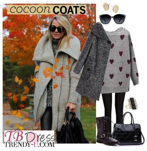 Пальто-кокон серого цвета для осени и весны