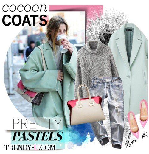 Пальто-кокон цвета мяты