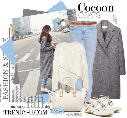 Серое пальто-кокон и другая одежда
