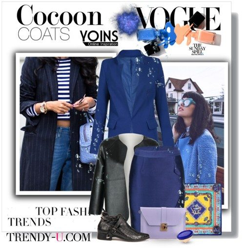 Пальто-кокон синего цвета