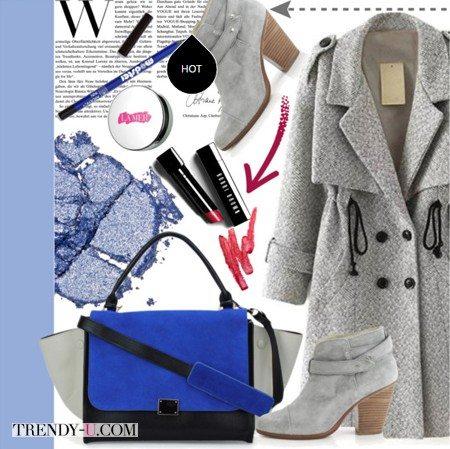 Серый аутфит и синяя сумка