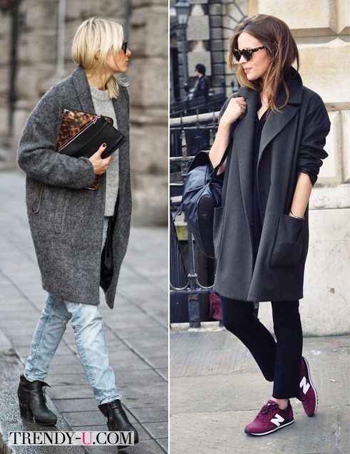 Джинсы и серое пальто