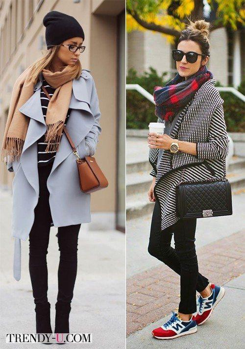 Серые пальто и сверху шарф