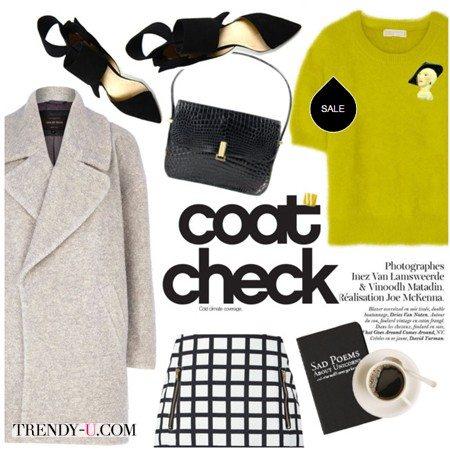 Светло-серое пальто, клетчатая юбка и ангоровый свитер