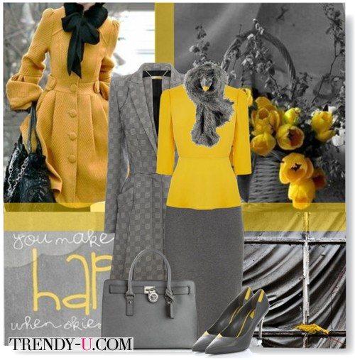 Желтый свитер, юбка-карандаш и серое пальто