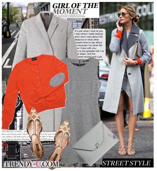 Серое пальто и оранжевый свитер на Оливии Палермо