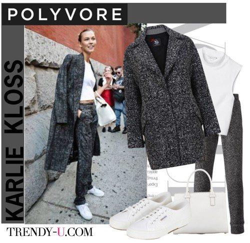 Серое пальто в сочетании с белым укороченным топом и кедами в тон