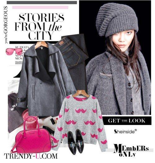 Серое пальто, шапка-носок и сумка цвета фуксии