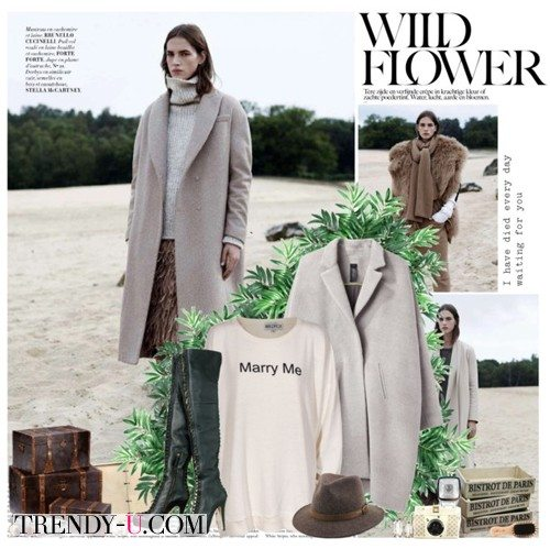 Серое пальто, свитер в тон и высокие сапоги