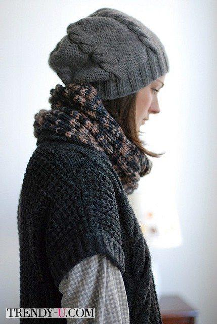 Серое вязанное пальто, шапка, шарф