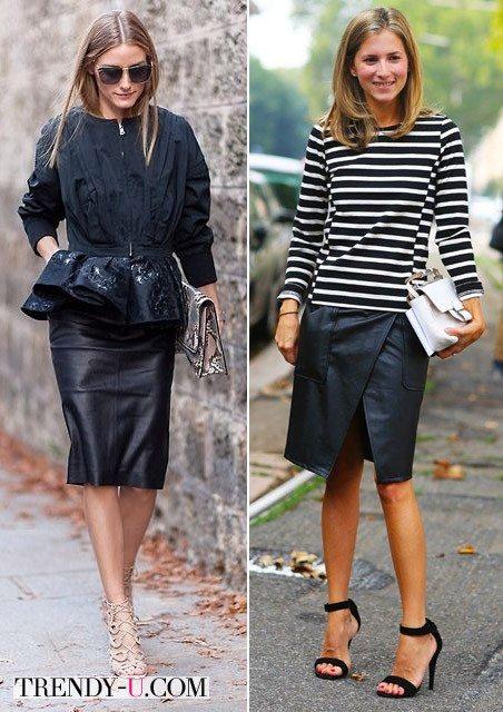 Оливия Палермо и неизвестная уличная модница, обе в кожаных юбках