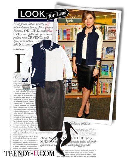 Черная кожаная юбка-карандаш, туфли-лодочки и спортивная куртка